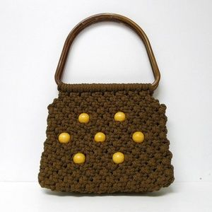VTG 70s beaded macrame handbag